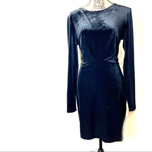 Olive & Oak black velour dress w/ cutout back